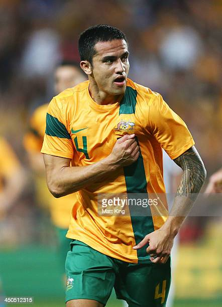Tim Cahill of the Socceroos celebrates scoring the first goal during the international friendly match between the Australian Socceroos and Costa Rica...