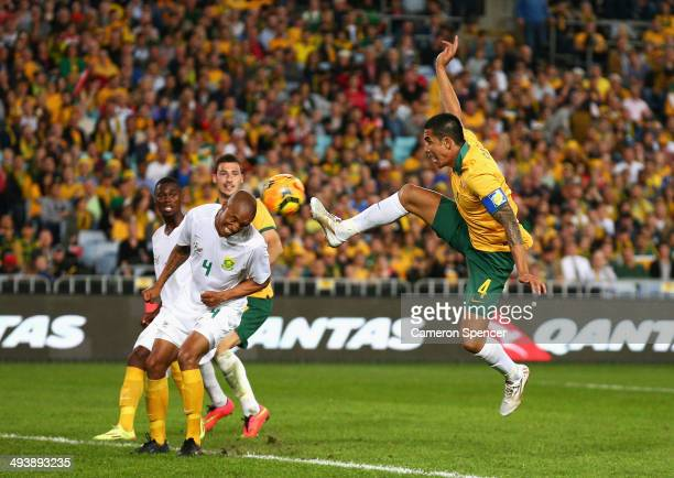 Tim Cahill of the Socceroos kicks for goal during the International Friendly match between the Australian Socceroos and South Africa at ANZ Stadium...