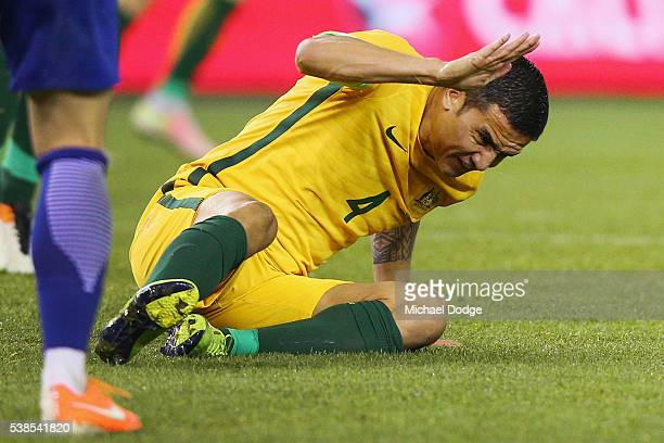 Tim Cahill of the Socceroos reacts after heading the ball for a missed goal attempt during the International Friendly match between the Australian...