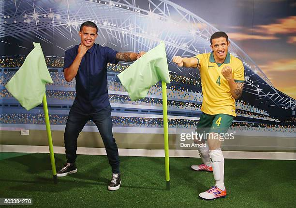 Tim Cahill poses with his wax figure at Madame Tussauds Sydney on January 5 2016 in Sydney Australia