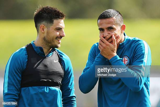 Tim Cahill reacts with Bruno Fornaroli during a Melbourne City FC ALeague training session ahead of their FFA Cup round of 16 match at La Trobe...