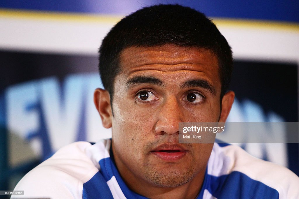 Tim Cahill talks to the media during an Everton FC press conference at ANZ Stadium on July 5, 2010 in Sydney, Australia.