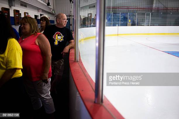 Tim Callen of Portland looks out onto the ice where Stanley cup winner Brian Dumoulin grew up playing at the Biddeford Arena Callen came to see the...