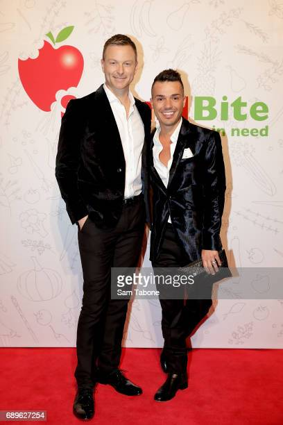 Tim Campbell and Anthony Callea arrive ahead of the SecondBite Waste Not Want Not Charity Dinner at Crown Palladium on May 29 2017 in Melbourne...