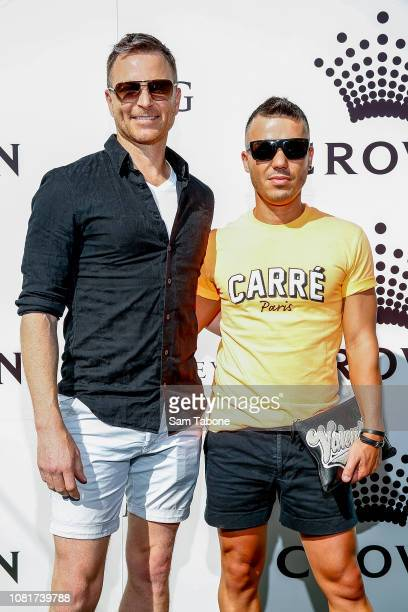 Tim Campbell and Anthony Callea arrives at the 2019 Crown IMG Tennis Party at Crown Entertainment Complex on January 13 2019 in Melbourne Australia