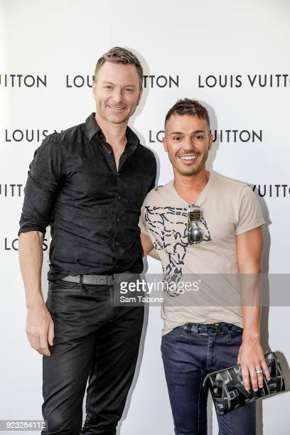 Tim Campbell and Anthony Callea arrives at the Louis Vuitton Time Capsule exhibition at Chadstone Shopping Centre on February 23 2018 in Melbourne...