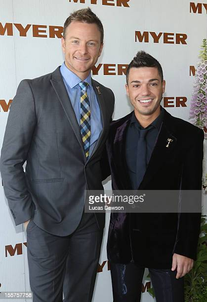 Tim Campbell and Anthony Callea attend the Myer marquee on Crown Oaks Day at Flemington Racecourse on November 8 2012 in Melbourne Australia