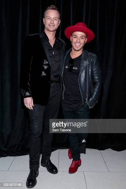 Tim Campbell and Anthony Callea attends The Australian Grand Prix Corporation hospitality showcase at Albert Park on September 12 2018 in Melbourne...