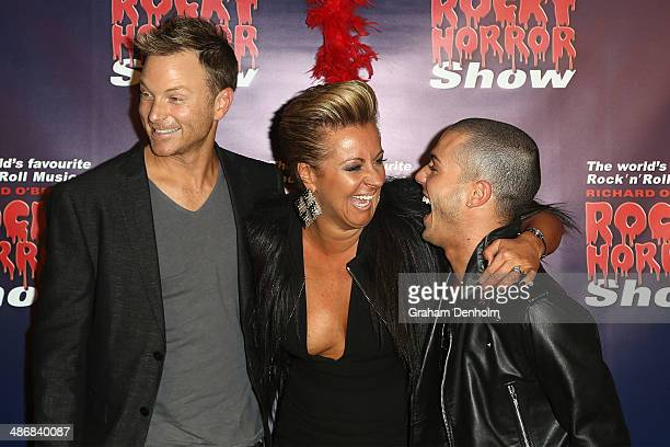 Tim Campbell Chyka Keebaugh and Anthony Callea attend the Melbourne premiere of the Rocky Horror Musical on April 26 2014 in Melbourne Australia