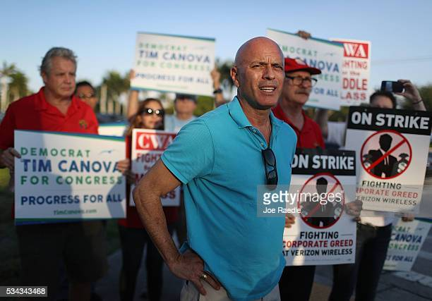 Tim Canova Democrat Congressional Candidate for FL23 joins CWA members other South Florida union members and community activists at a Verizon protest...