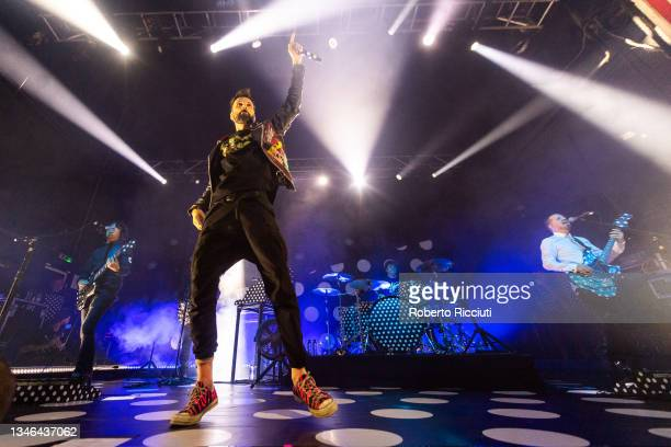 Tim Carter, Sergio Pizzorno, Ian Matthews and Chris Edwards of Kasabian perform on stage at O2 Academy Glasgow on October 13, 2021 in Glasgow,...