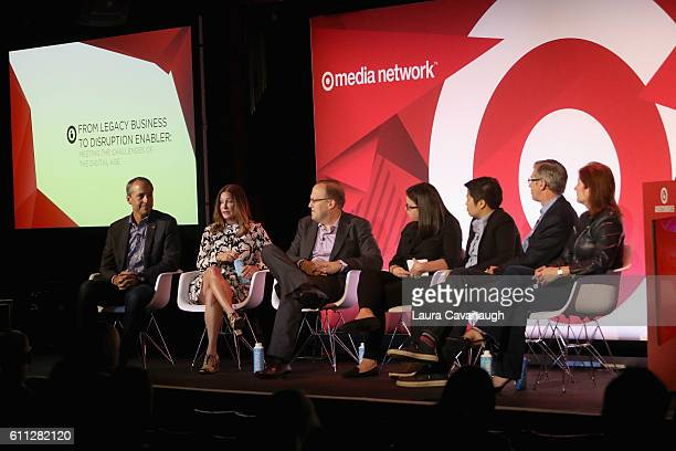 Tim Castelli Melissa Goidel Scott Wells Lauren Johnson Jen Wong Declan Moore and Jeanie Caggiano speak onstage at the From Legacy Business to...