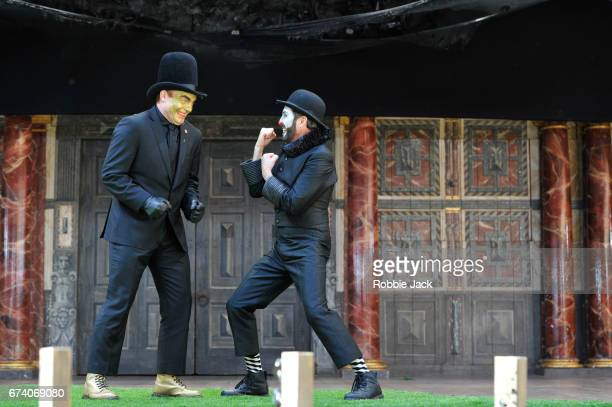 Tim Chipping as Paris and Gareth Snook as Lord Capulet in William Shakespeare's Romeo and Juliet directed by Daniel Kramer at The Globe Theatre on...
