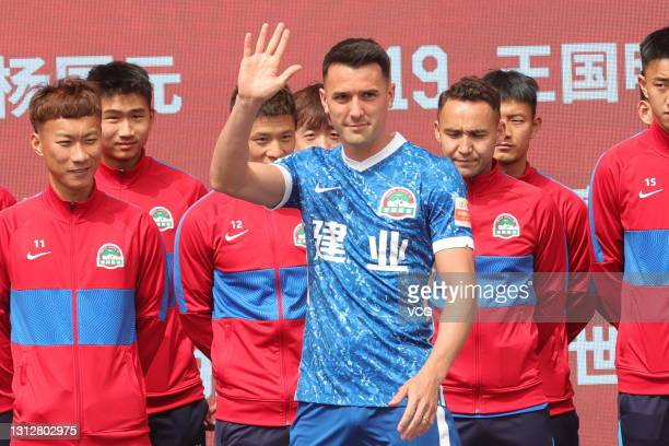 Tim Chow of Henan Songshan Longmen Football Club attends a farewell ceremony before leaving for 2021 Chinese Super League at Hanghai Stadium on April...