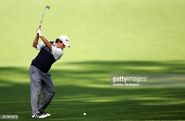 Tim Clark of South Africa hits his second shot on the 13th fairway during the continuation of the rain delayed third round of The Masters at the...