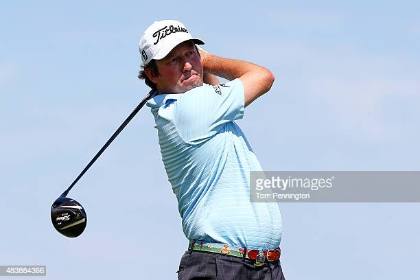 Tim Clark of South Africa plays his shot from the 14th tee during the first round of the 2015 PGA Championship at Whistling Straits on August 13 2015...