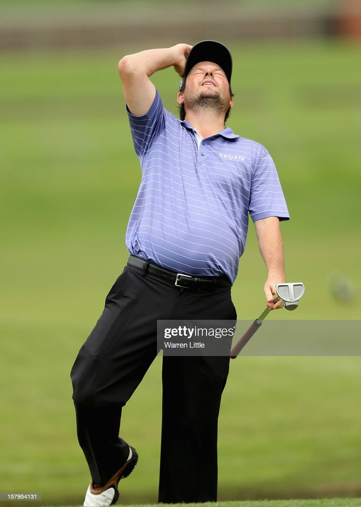Tim Clark of South Africa reacts to a near birdie during the first round of The Nelson Mandela Championship presented by ISPS Handa at Royal Durban Golf Club on December 8, 2012 in Durban, South Africa.