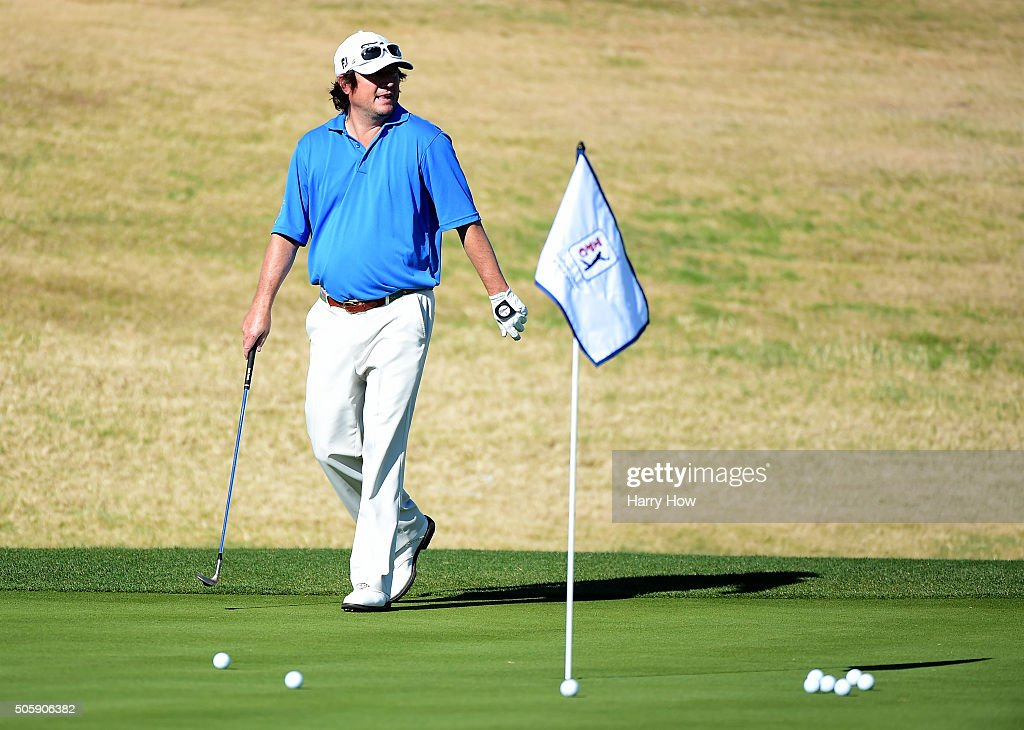Tim Clark of South Africa warms up during preview for the CarerrBuilder Challenge In Partnersihip With The Clinton Foundation at the TPC Stadium Course at PGA West on January 20, 2016 in La Quinta, California.