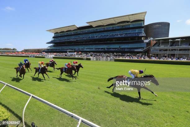 Tim Clark on Santos wins race 2 on Apollo Stakes Day at Royal Randwick Racecourse on February 17 2018 in Sydney Australia