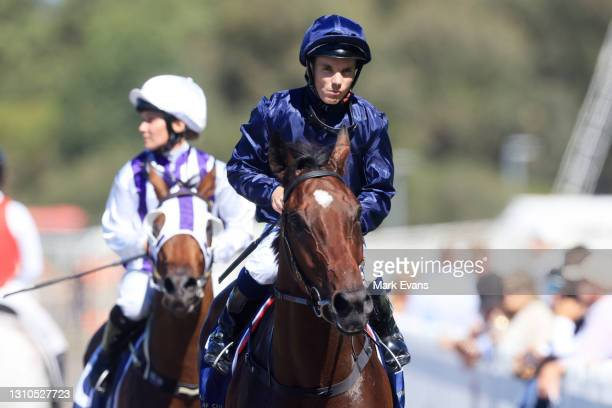 Tim Clark on Yaletown returns to scale after winning race 3 the Signace Tulloch Stakes during Sydney Racing at Rosehill Gardens on April 03, 2021 in...