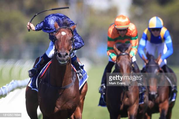 Tim Clark on Yaletown , wins race 3 the Signace Tulloch Stakes during Sydney Racing at Rosehill Gardens on April 03, 2021 in Sydney, Australia.