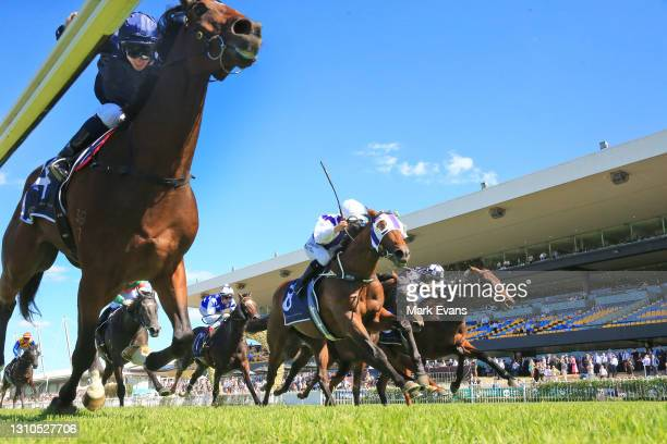Tim Clark on Yaletown wins race 3 the Signace Tulloch Stakes during Sydney Racing at Rosehill Gardens on April 03, 2021 in Sydney, Australia.