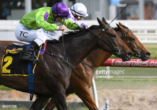 Tim Clark riding Global Glamour defeats Luke Currie riding Cool Passion in Race 9 Tristarc Stakes during Melbourne Racing on Caulfield Cup Day at...