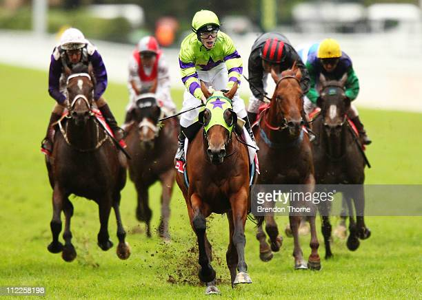 Tim Clark riding Scared Choice wins the Emirates Doncaster Mile during Emirates Doncaster Day at Royal Randwick Racecourse on April 16 2011 in Sydney...