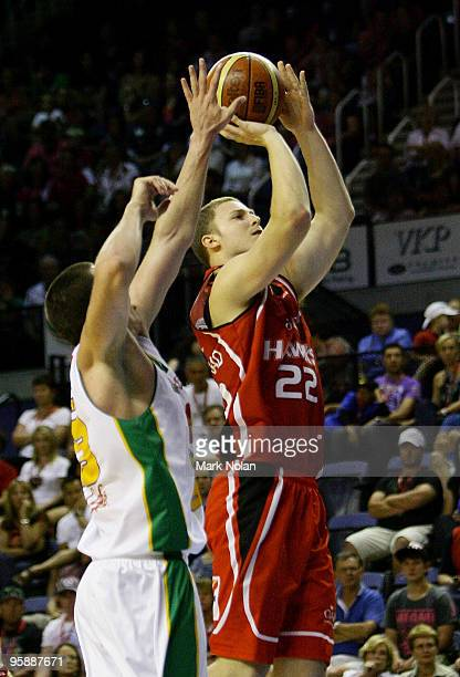 Tim Coenraad of the Hawks shoot for the basket during the round 17 NBL match between the Wollongong Hawks and the Townsville Crocodiles at Wollongong...