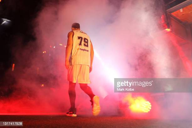 Tim Coenraad of the Hawks walks onto the court before the round 18 NBL match between the Illawarra Hawks and Adelaide 36ers at WIN Entertainment...