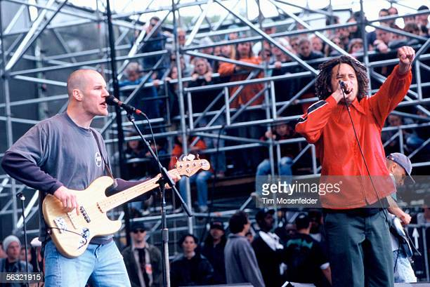 Tim Commerford and Zack De La Rocha and Rage Against the Machine perform as part of the Tibetan Freedom Concert 1996 at the Polo Fields in Golden...