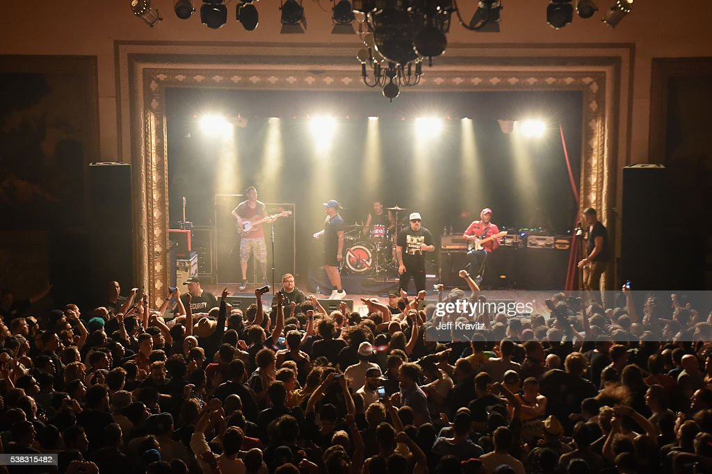 Tim Commerford, Chuck D, Brad Wilk, B- Real and Tom Morello of Prophets Of Rage perform onstage at Warsaw on June 5, 2016 in the Brooklyn borough of New York City.