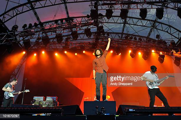 Tim Commerford Zack De La Rocha and Tom Morello of American raprockers Rage Against The Machine perform a free concert at Finsbury Park on June 6...