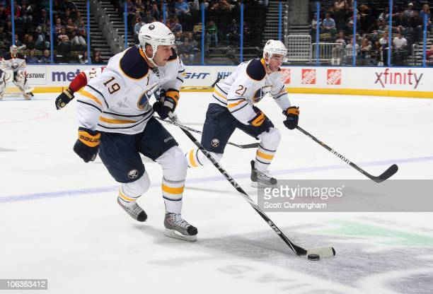 Tim Connolly of the Buffalo Sabres carries the puck against the Atlanta Thrashers at Philips Arena on October 29 2010 in Atlanta Georgia
