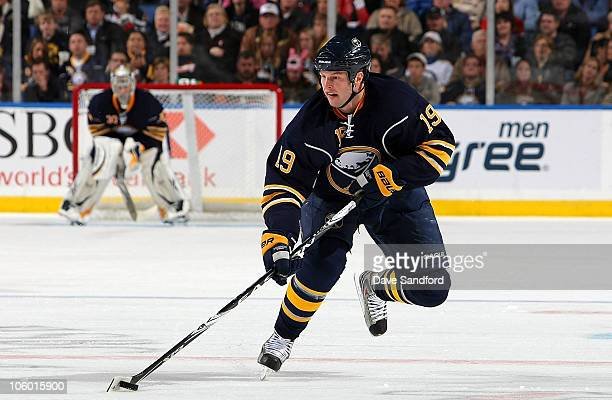 Tim Connolly of the Buffalo Sabres carries the puck against the Ottawa Senators during their NHL game at HSBC Arena October 22 2010 in Buffalo New...
