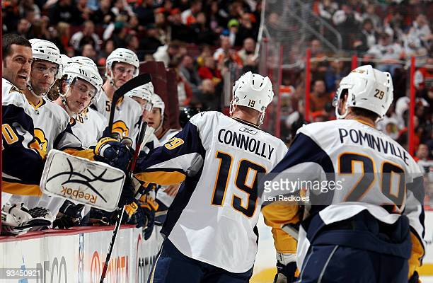 Tim Connolly of the Buffalo Sabres celebrates a second period goal against the Philadelphia Flyers with his benchon November 27 2009 at the Wachovia...