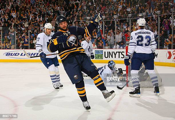 Tim Connolly of the Buffalo Sabres celebrates his first peiod goal past Curtis Joseph of the Toronto Maple Leafs on March 27 2009 at HSBC Arena in...