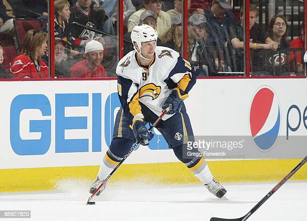 Tim Connolly of the Buffalo Sabres controls the puck during a NHL game against the Carolina Hurricanes on April 9 2009 at RBC Center in Raleigh North...