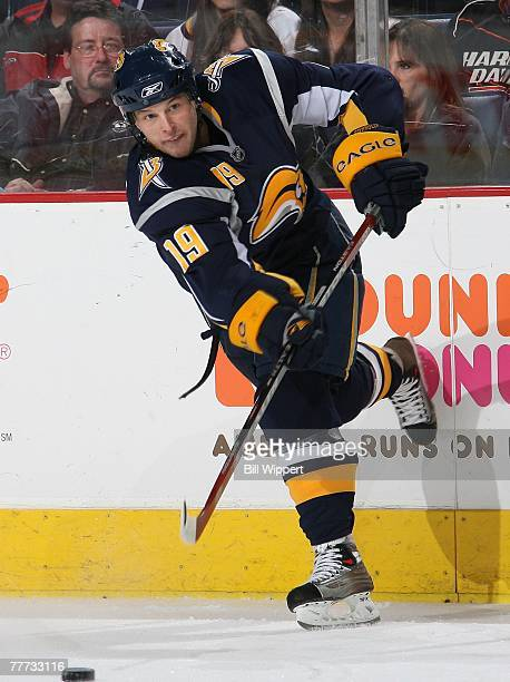 Tim Connolly of the Buffalo Sabres fires a slapshot against the Florida Panthers on November 2, 2007 at HSBC Arena in Buffalo, New York.
