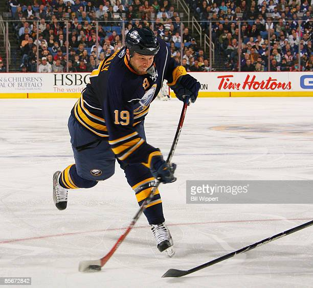 Tim Connolly of the Buffalo Sabres fires a slapshot against the Toronto Maple Leafs on March 27 2009 at HSBC Arena in Buffalo New York