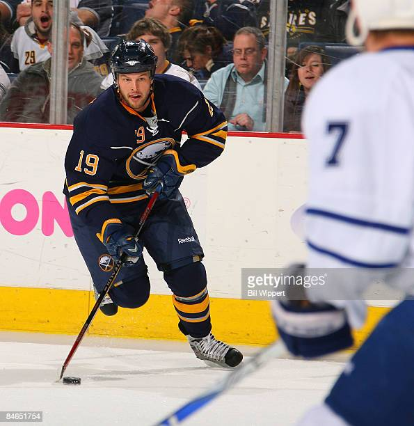 Tim Connolly of the Buffalo Sabres moves in on the offensive during the play of the first period against the Toronto Maple Leafs on February 4 2009...
