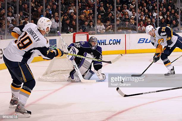 Tim Connolly of the Buffalo Sabres passes to teammate Thomas Vanek who beats Jonathan Quick of the Los Angeles Kings for a goal on January 21, 2010...