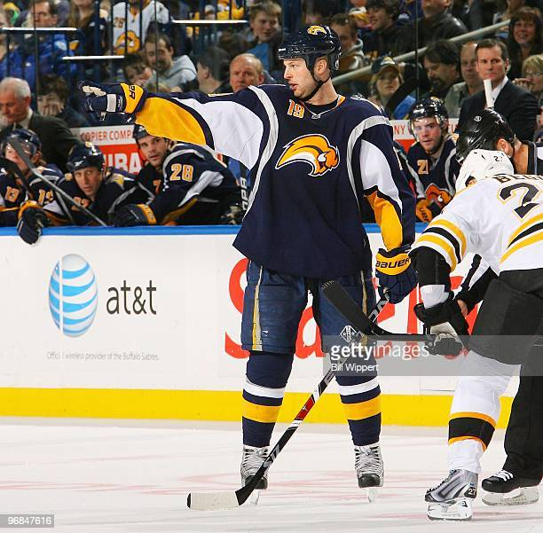 Tim Connolly of the Buffalo Sabres prepares for a faceoff against the Boston Bruins on February 9 2010 at HSBC Arena in Buffalo New York