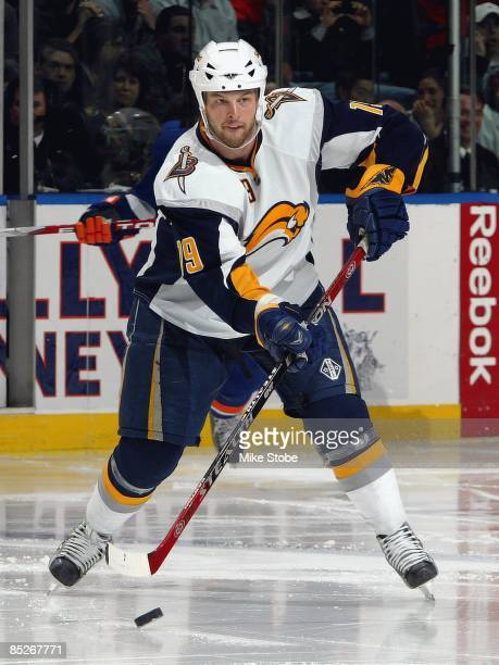 Tim Connolly of the Buffalo Sabres skates against the New York Islanders on February 28 2009 at Nassau Coliseum in Uniondale New York Islanders...