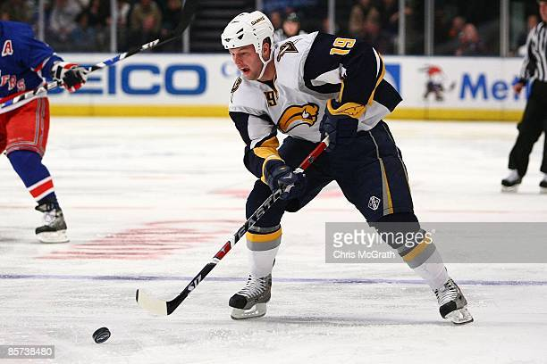 Tim Connolly of the Buffalo Sabres skates against the New York Rangers during the game on March 21 2009 at Madison Square Garden in New York City