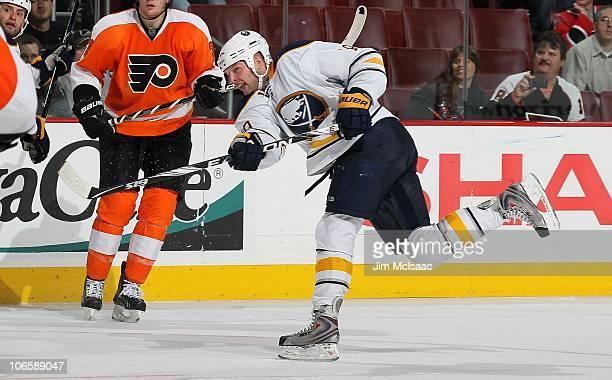 Tim Connolly of the Buffalo Sabres skates against the Philadelphia Flyers on October 26 2010 at Wells Fargo Center in Philadelphia Pennsylvania The...