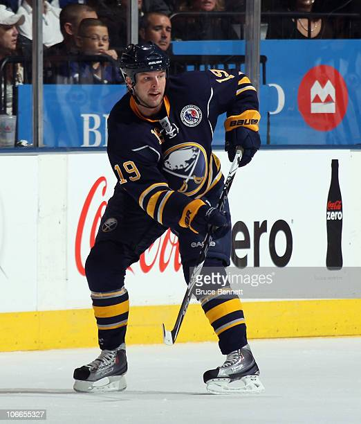 Tim Connolly of the Buffalo Sabres skates against the Toronto Maple Leaf at the Air Canada Centre on November 6 2010 in Toronto Canada