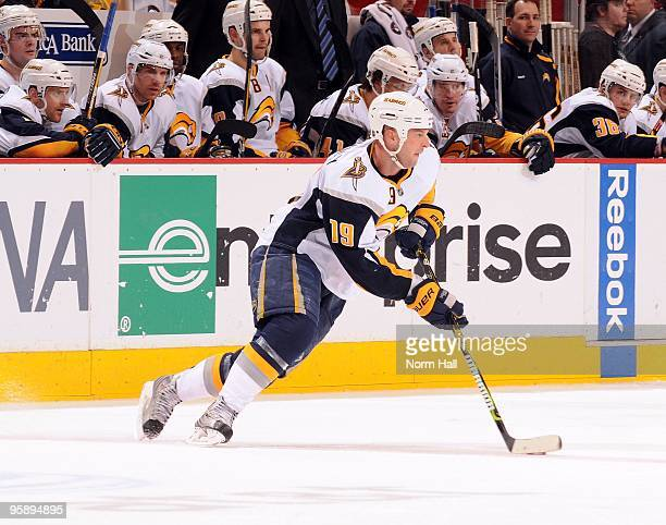 Tim Connolly of the Buffalo Sabres skates the puck up ice against the Phoenix Coyotes on January 18 2010 at Jobingcom Arena in Glendale Arizona