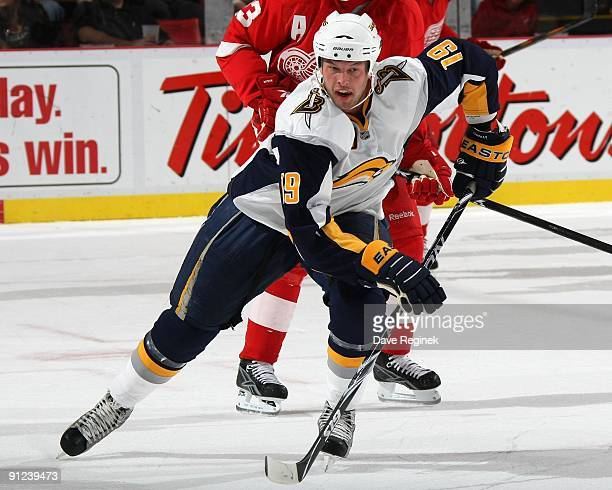 Tim Connolly of the Buffalo Sabres skates up ice during the NHL preseason game against the Detroit Red Wings at Joe Louis Arena on September 19 2009...