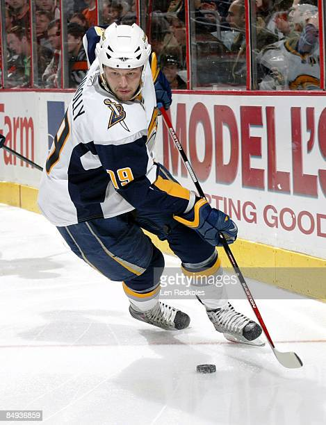 Tim Connolly of the Buffalo Sabres skates with the puck against the Philadelphia Flyers on February 19 2009 at the Wachovia Center in Philadelphia...